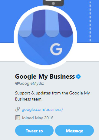 message google my business support on twitter